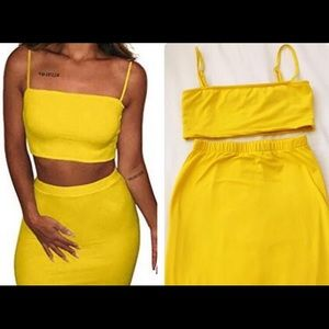 Yellow 2 piece body con  top and skirt